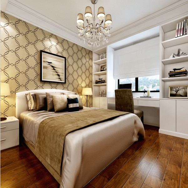 合肥融侨官邸110㎡欧式装修设计 卧室效果图,床头背景贴的墙纸。窗户做了一个写字台。