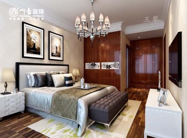 蓝鼎海棠湾128㎡简中式风格 卧室效果图,简单大方,川豪设计。