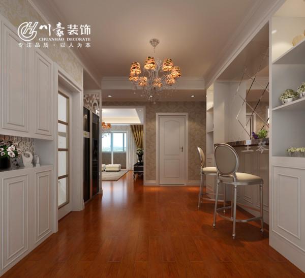 铂金汉宫90㎡实用装修设计 过道处效果图,地面铺地板。