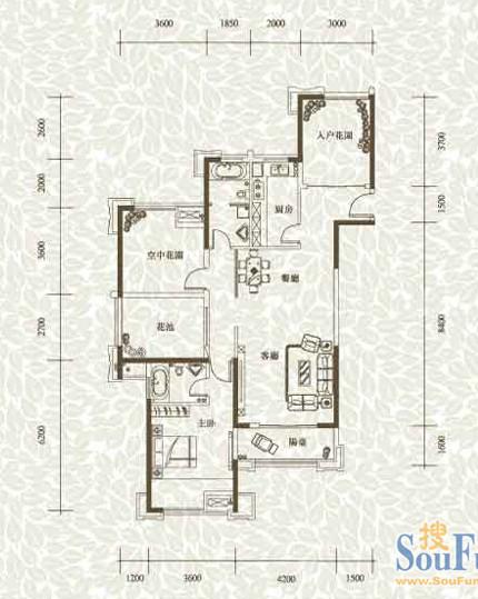 合肥融侨官邸110㎡欧式装修设计 原始房型图,没有改造的,合肥川豪装饰设计。