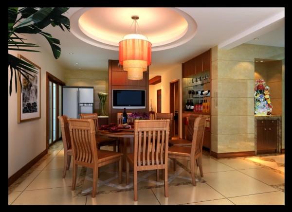翡翠城-150㎡中式风格-餐厅装饰效果图