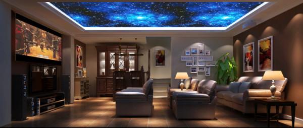 潮白河孔雀城260㎡简欧风格影视厅效果图。
