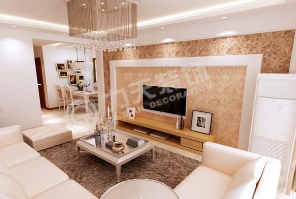 电视背景墙十分个性,再加上白色边框的修饰,现代感强烈
