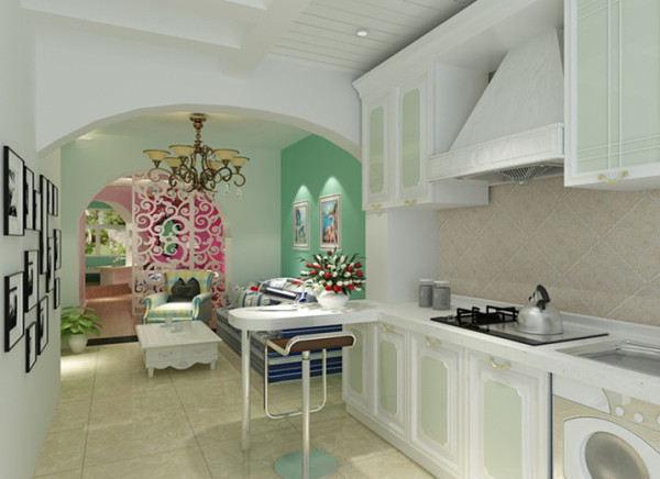 厨房,将空间开敞,放上小吧台,既有情调又实用。浅绿色的橱柜先入为主,突显地中海的清新特质,厨房不再是水深火热的地方。