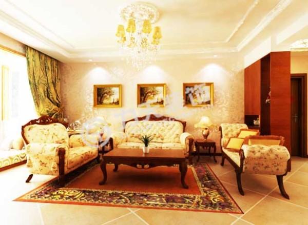 欧式风格设计,宽敞明亮,方便实用,现在很受欢迎的风格。 沙发背景墙则用了壁纸并挂了组画,给墙面做个装饰,充分迎合了欧式的风格。