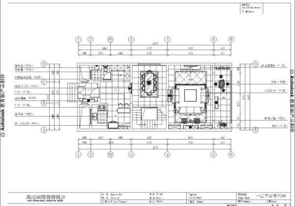 潮白河孔雀城260㎡简欧风格一层平面布置图。