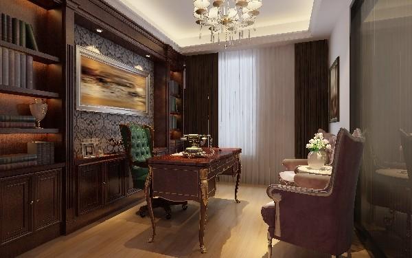书房使用了板材和石材类的天然材料,天花没有过多的装饰仅仅为了墙面的装饰的图案相呼应而设计了一个线条形的凹槽。,高贵典雅的书房设计气息。