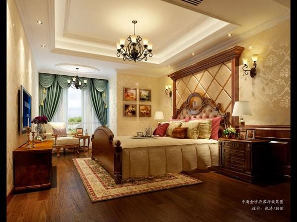 成都装修设计 中海金沙府案例 卧室设计效果图。