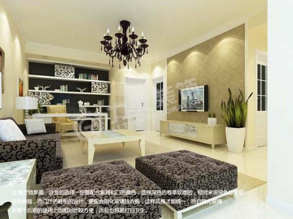 客厅做了一个敞开式书房,为满足业主有一个独立的书房空间。