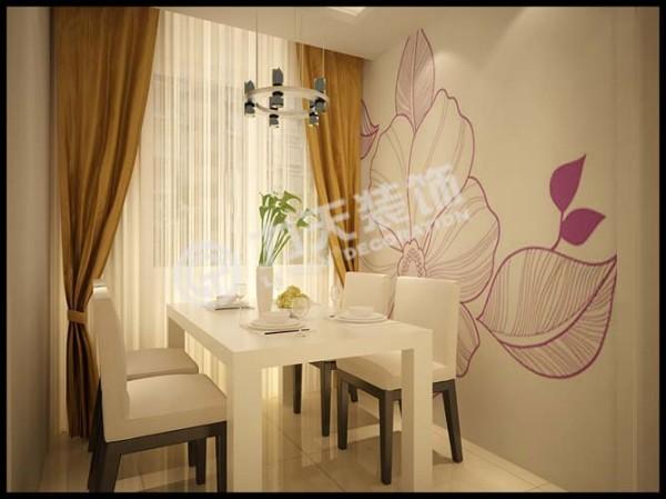 ,餐厅选择的是浅色布艺餐椅,餐厅的一面墙做的彩绘墙,让人在进餐的时候增加食欲