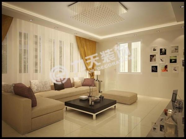 客厅吊顶采用的是石膏板加筒灯和灯带的做法
