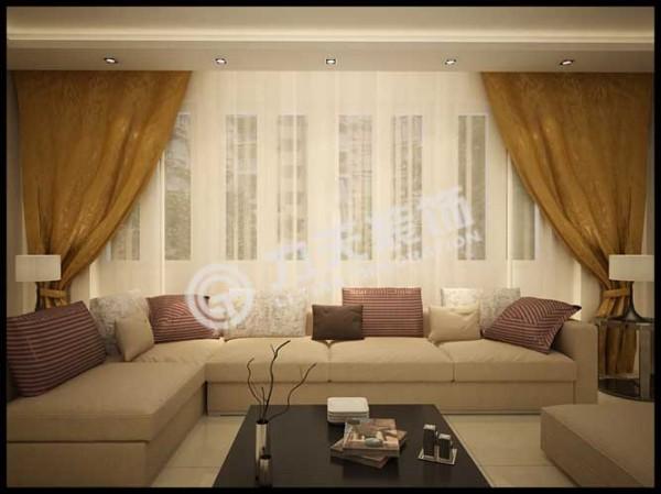 沙发选择的是米色布艺沙发
