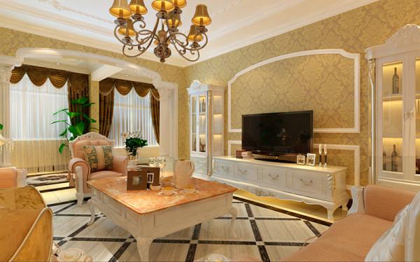 客厅金色壁纸、拱形造型、菱形拼花铺砖,将欧式的奢华富贵之气表现出来;电视机旁边的酒柜很好的利用了空间而且美观实用。