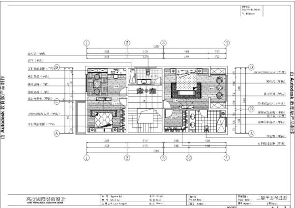 潮白河孔雀城260㎡简欧风格二层平面布置图。
