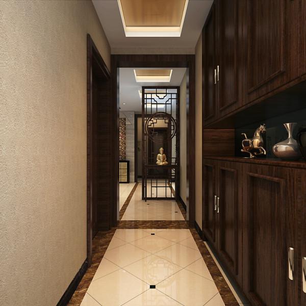 走进大门是作为屏风的镂空中式玄关,增强了空间的通透感,同时又不失风水学的诠释;达到了装饰服务于功能的宗旨。