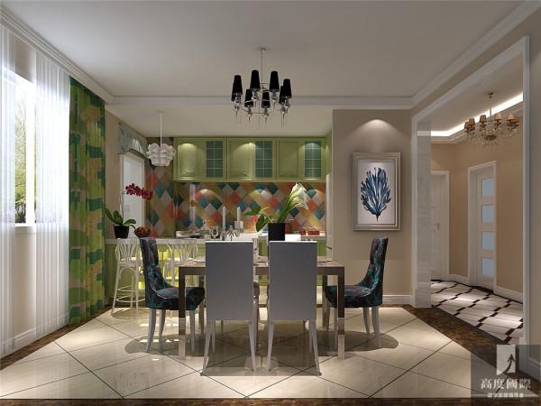 打破传统繁荣的设计方式,将三居改为两居两厅两卫,整体颜色运用较为大胆,