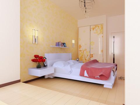 卧室全体仍然挑选了对比柔和的暖色彩,一丝暖意涌上心头,淡淡的花朵图案出现在了窗布、墙纸及衣柜上,使人轻松自由、心情舒畅,晶莹剔透的水晶灯使整个空间灵动生动了起来。