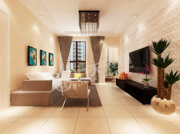 现代简约的风格设计,客厅做了简单的吊顶,影视墙采用浅颜色的壁纸,给人清新的感觉。