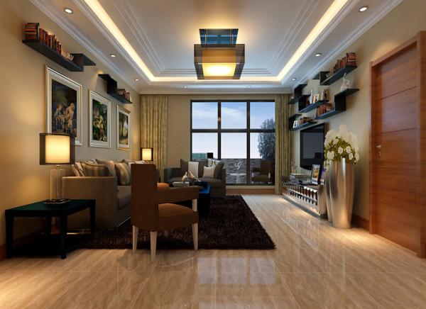 毛绒绒的现代地毯搭配皮质的现代沙发。电视背景墙与沙发背景墙上简单的实木黑胡桃木质装饰架