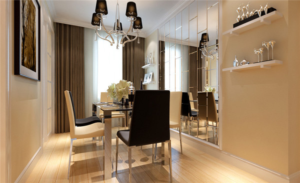餐厅部分的设计主要是满足人体工程学正常比例关系,利用镜面反射效果是空间扩大化。 亮点:推拉门的设计让空间显得更加大气,餐厅背景采用镜面的效果使得原先并不宽敞的餐厅空间显得很充裕。