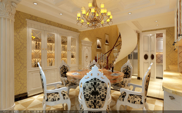 换个角度看餐厅,圆形大理石餐桌,乳白色的酒柜,罗马柱等,欧式奢华之气彰显出来。