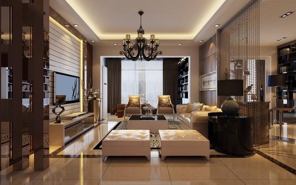 现代的客厅体现了现代时尚的风格特点为主。电视背景墙连边有灰镜做对比,简单的明朗的空间感觉空间的大气。