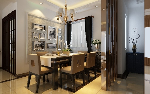 餐厅侧有真的壁炉或假的壁炉造型。墙面用最好的壁纸,或用最好的乳胶漆,以烘托豪华的效果,地面以石材或地板为佳。