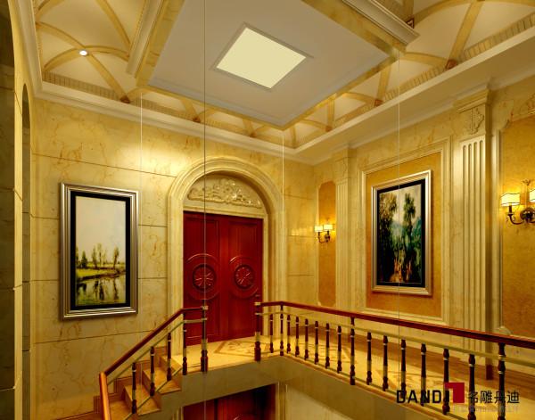 名雕丹迪设计——御泉山独栋别墅——欧式风格——三楼楼梯景观