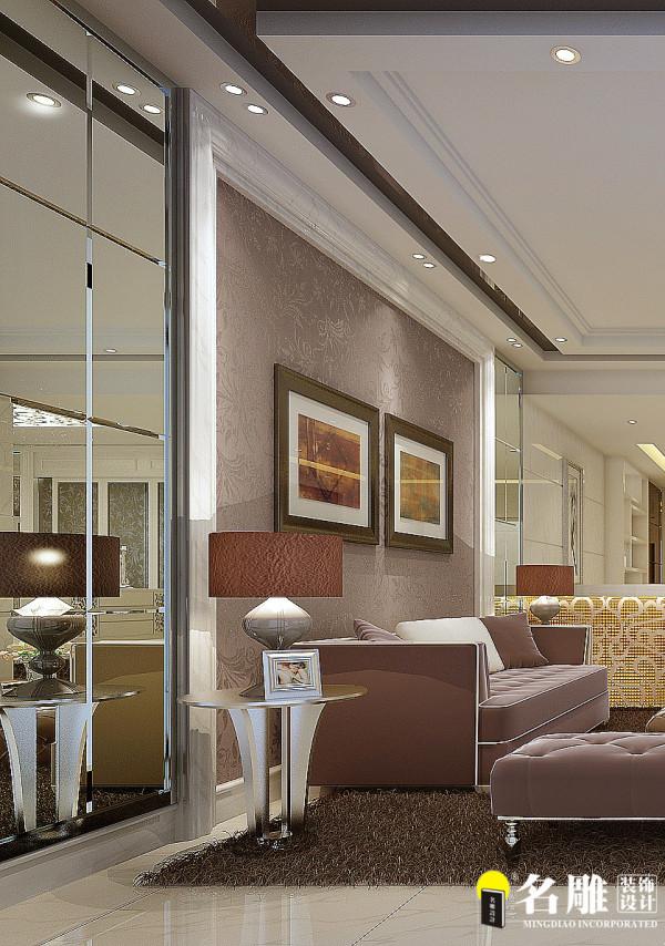 名雕装饰设计——新古典三居室——客厅沙发背景
