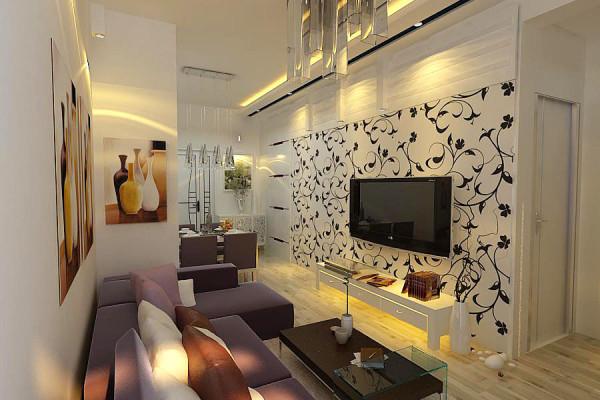 本方案设计上强调空间元素与材质的和谐统一,注重空间设计的整体性,呈现出淡雅、轻松、时尚的设计风格,尤其是电视背景墙的造型处理与材质的运用,使整个空间更为活跃,流露出时尚、简约、现代之感。