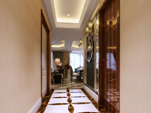 门厅 后期配饰及地砖 设计理念:清晰得与客厅相区分,简单的欧式配件和软包凸显了玄关的雍容华贵。 亮点:采用拼花瓷砖与客厅明显区分,墙面挂一组欧式古典灯和有欧式感的软包,奢华大气,又不失太过俗气。