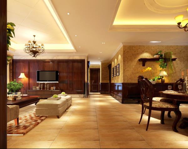 客厅多采用红橡木护墙板。更显高端大气稳重