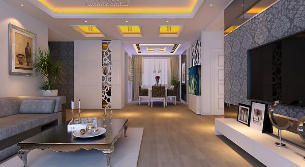通过颜色与装饰来缓冲过道的长度。达到实用与装饰的完美结合。客厅与用餐区的顶面做了简洁的直线吊顶,与电视背景墙结合。背景墙局部运用了壁纸,简约现代。整个门厅与客厅主要运用吊顶,结合灯光、壁纸来装饰。