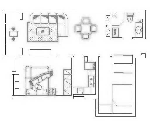 但是餐客厅一体的设计又省去了很多空间需求的冲突,进门后右侧的卫生间方便气味的消散,进门左侧的预留的更衣鞋柜位置,进门处将客房安置于此,不打扰主人休息及客厅的使用,作为客房或儿童房都相当妥当。