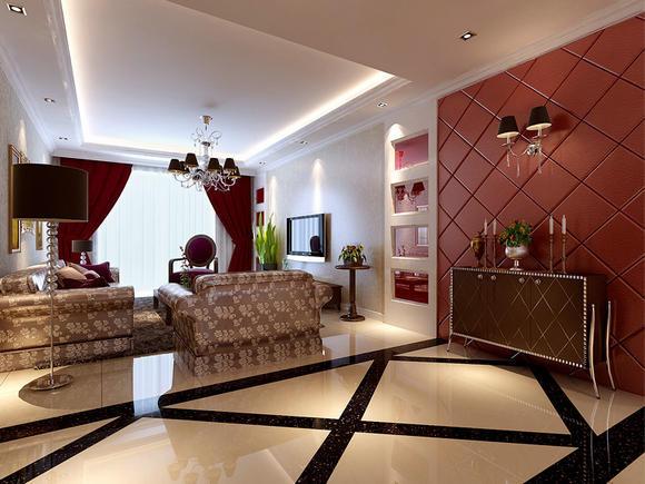 客厅在电视墙进行了重点处理,采用了对称造型的处理,更加长了空间的延伸感!整个案例中,红色烤漆玻璃是家中的主角,中性的色调和富有质感的纹理,是红色烤漆玻璃装点的居室刚中带柔,简约中蕴含深意