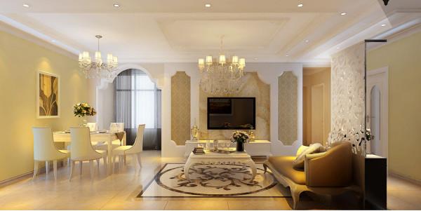 鑫苑世纪东城 3号楼户型客户有一个窗户,从结构分析不是特别合理,设计师在设计思路采用通过人造光源和地面材质的搭配,从视觉感观融洽自然。