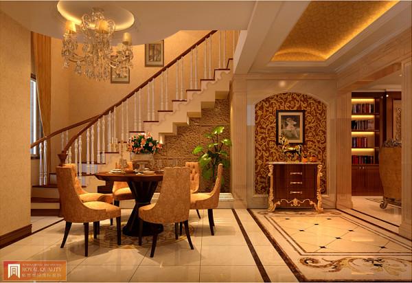 餐厅与玄关同一空间,紫禁尚品别墅装饰设计师以长形吊顶与地面花拼图案相隔,让餐厅与玄关留有过渡感,空间规划感更加强烈。
