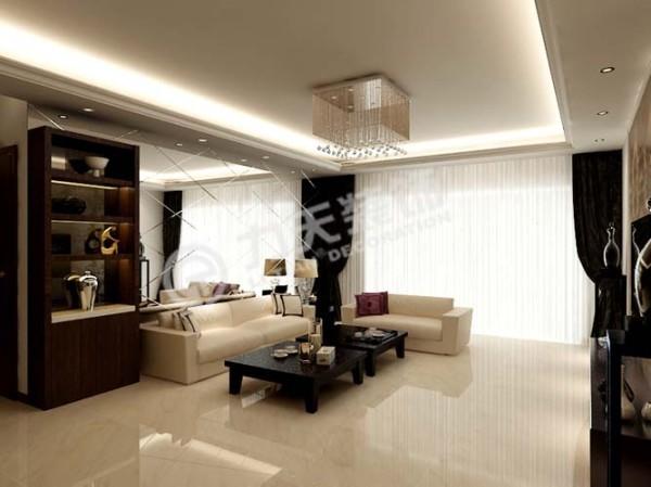 沙发背景墙使用镜面使整个客厅看起来更通透。