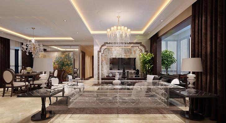 了大理石与木纹石两种材质和谐的搭配,共同营造尊贵华丽的空间效果图