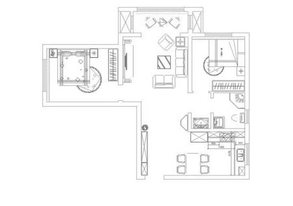 户型分析 本户型为珑著94平米两室一厅一厨一卫户型。入户左右边是厨房考虑到业主用餐需要将厨房做成开放式,并隔出一个四人用餐区方便业主用餐使用,户型完整,能够满足业主的需求。