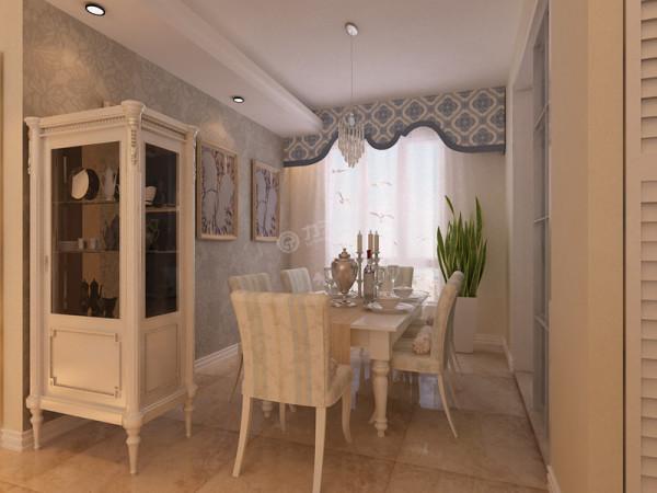 客厅和餐厅的顶面造型是呈阶梯状的石膏板。