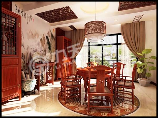 餐厅顶面采用石膏板和木花格做了装饰。
