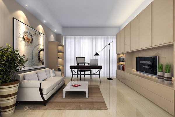 设计理念:书房为简单轻松的办公环境,书柜兼电视柜一体化,让办公和休闲合理分开,轻松自如。