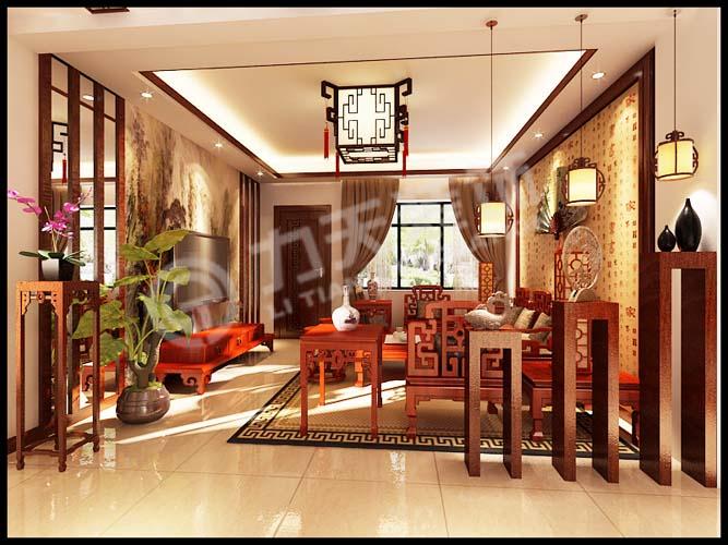 客厅电视背景墙采用木条与银镜和水墨画做了装饰,沙发图片