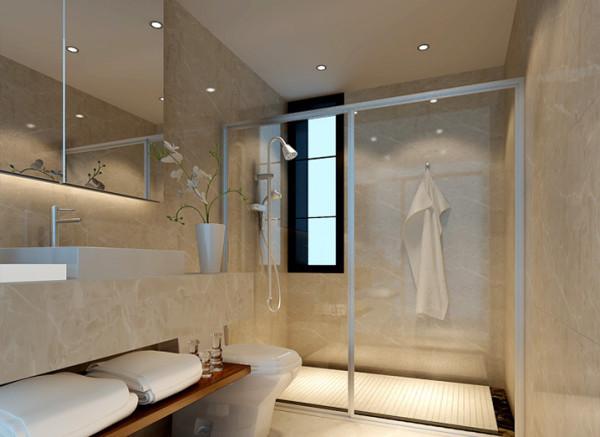 卫生间墙面淡黄色的墙砖配合整体风格,冲凉房排水槽的设计既实用又时尚,整体风格简洁明快却又不失华丽。亮点:美观实用的浴室柜,实用时尚的排水槽,整个空间既时尚又实用。