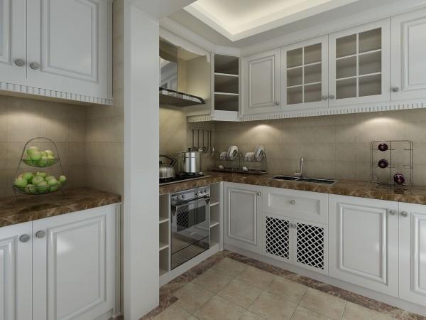 白色的腹膜欧式橱柜,配上纹理粗犷的仿古砖和地面波打线,让这个空间的感觉美妙而舒服。