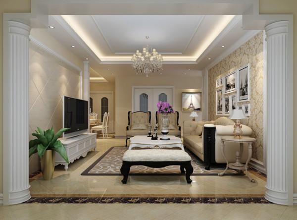 设计理念:简单的沙发背景墙及电视背景墙,线条多而不杂,显得气氛比较活跃   亮点:线条简单直爽,没有过多的复杂堆砌,入口两根装饰柱加强了简欧的韵味,顶面与地面风格统一。