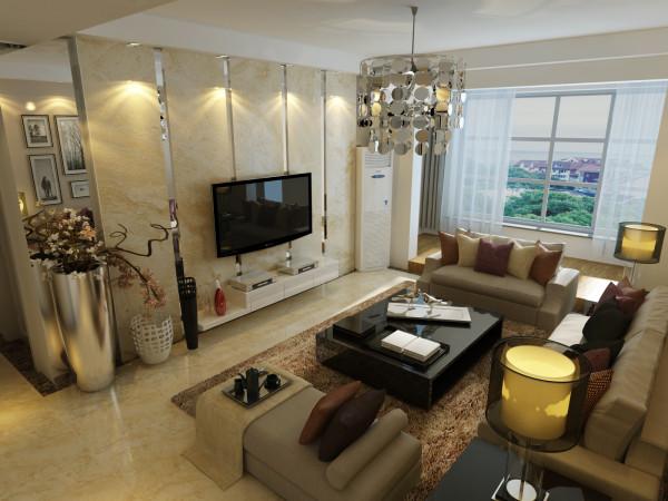 客厅简洁,宽敞,又兼顾实用性。整体空间色彩柔和,采光很好,整个空间充满了温馨的情调。