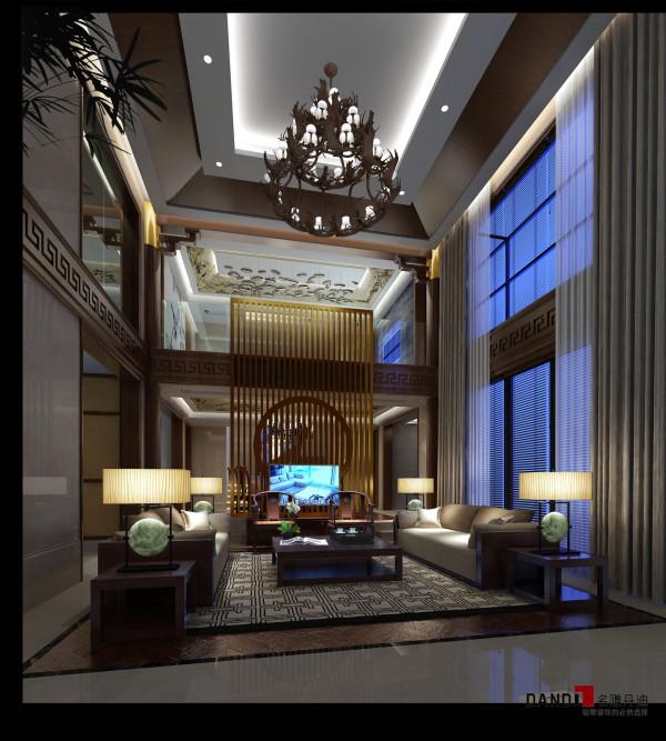 名雕丹迪设计-桃源居首府别墅-现代中式-客厅:空间简敛、素朴、自然,又传递出内敛稳重的气息,精美的墙绘将东方的美以现代手法串联于空间之中,精妙绝伦。