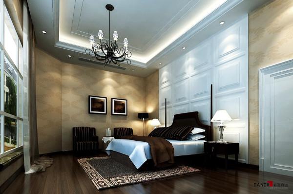 名雕丹迪设计-聚豪园熙园别墅-欧式卧室:墙身以不同形状造型和色彩形成视觉感。